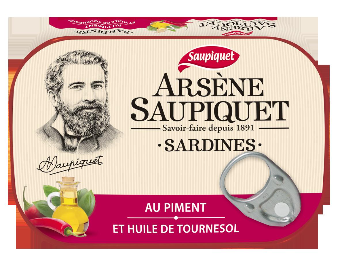 Sardines arsene saupiquet au piment et huile de tournesol